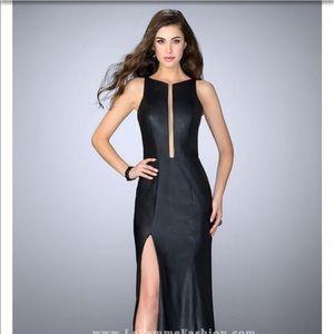 La Femme black faux leather Prom dress 24469 size2